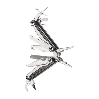 Leatherman charge plus tti titanium multi-tool, stainless steel, 19 tools, angled open view