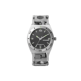 Leatherman tread tempo multi-tool watch in stainless steel, 30 tools, front view