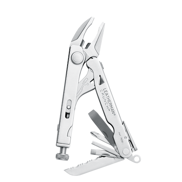 Leatherman crunch multi-tool, stainless steel, open view, 15 tools