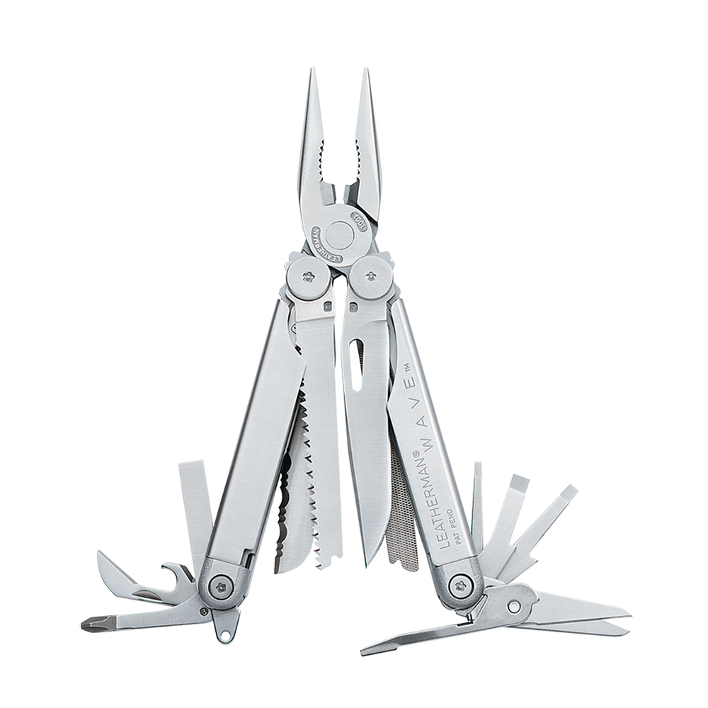 Leatherman original wave multi-tool, stainless steel, open view, 16 tools