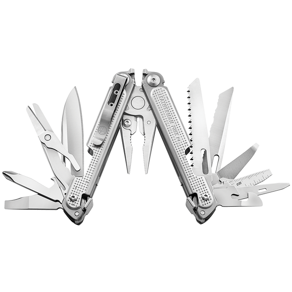 Leatherman FREE P4, stainless steel, open fanned view