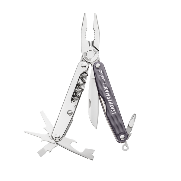 Leatherman juice c2 multi-tool, granite, 12 tools, open view