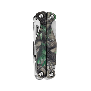 Leatherman Charge TTi multi-tool, closed view, Realtree camo print, 18 tools