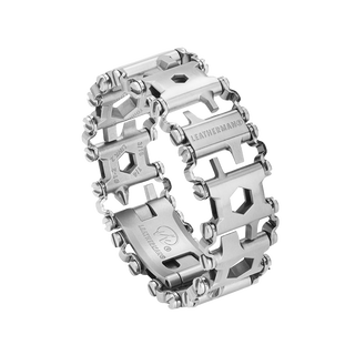 Leatherman stainless steel tread multi-tool bracelet, 29 tools, angled view