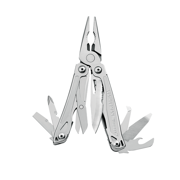 Leatherman wingman multi-tool, stainless steel, 14 tools, open view