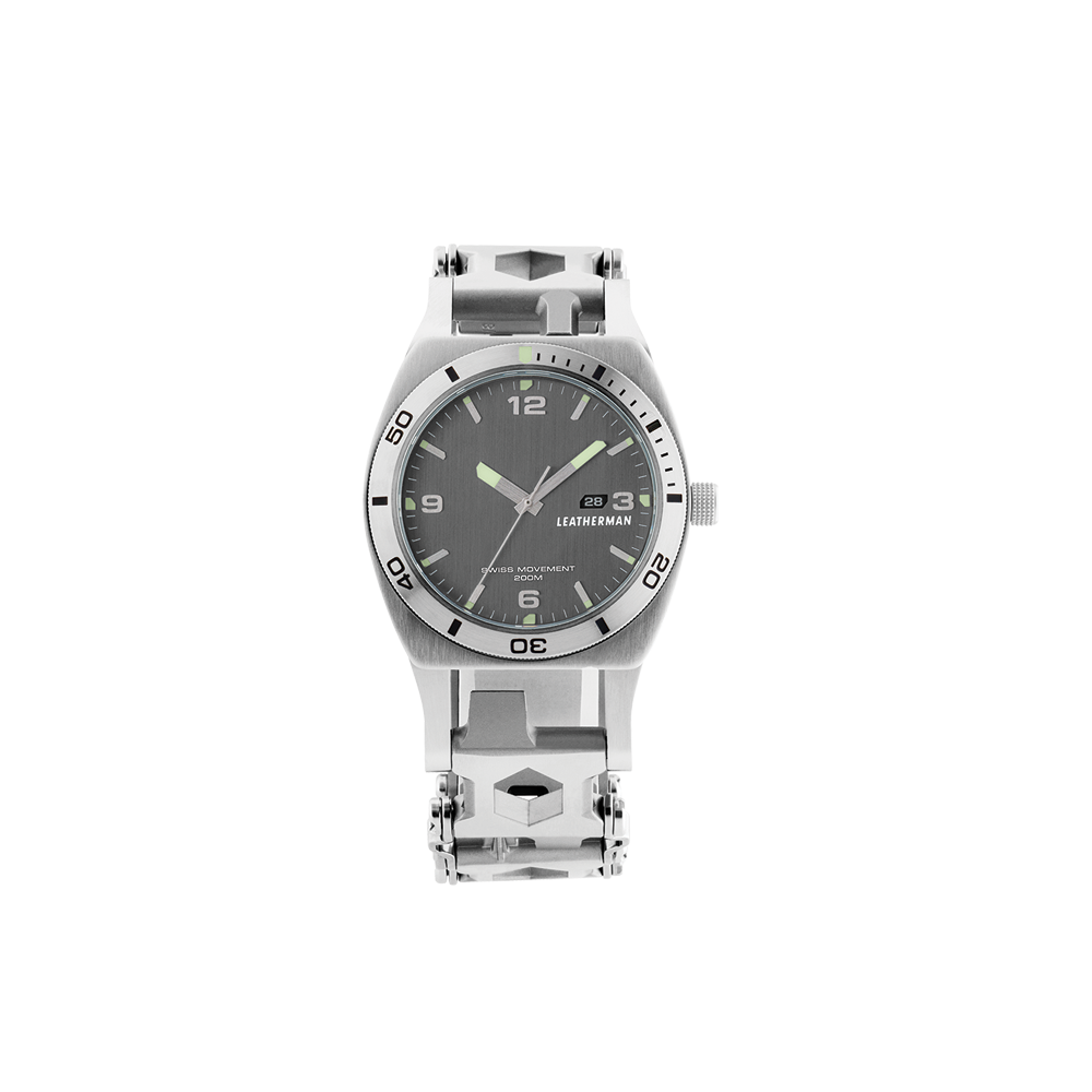 Leatherman tread tempo multi-tool watch in stainless steel, 30 tools, frontal view