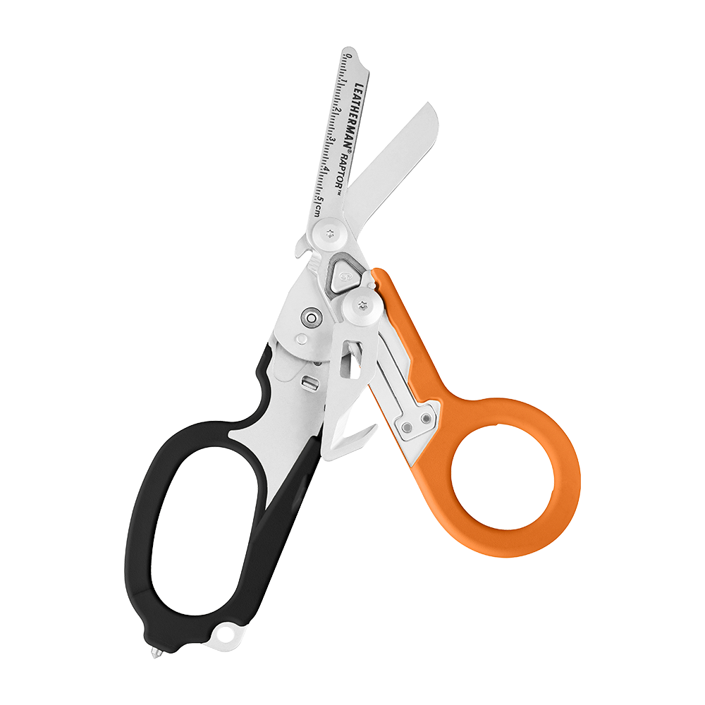 Leatherman Signal shears, orange and black, open view