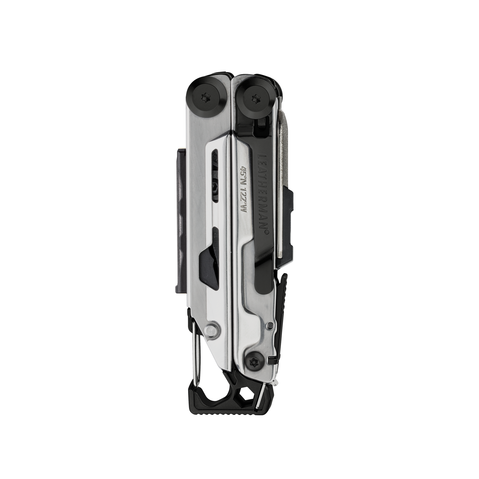 Leatherman signal multi-tool, black & silver, closed view, 19 tools