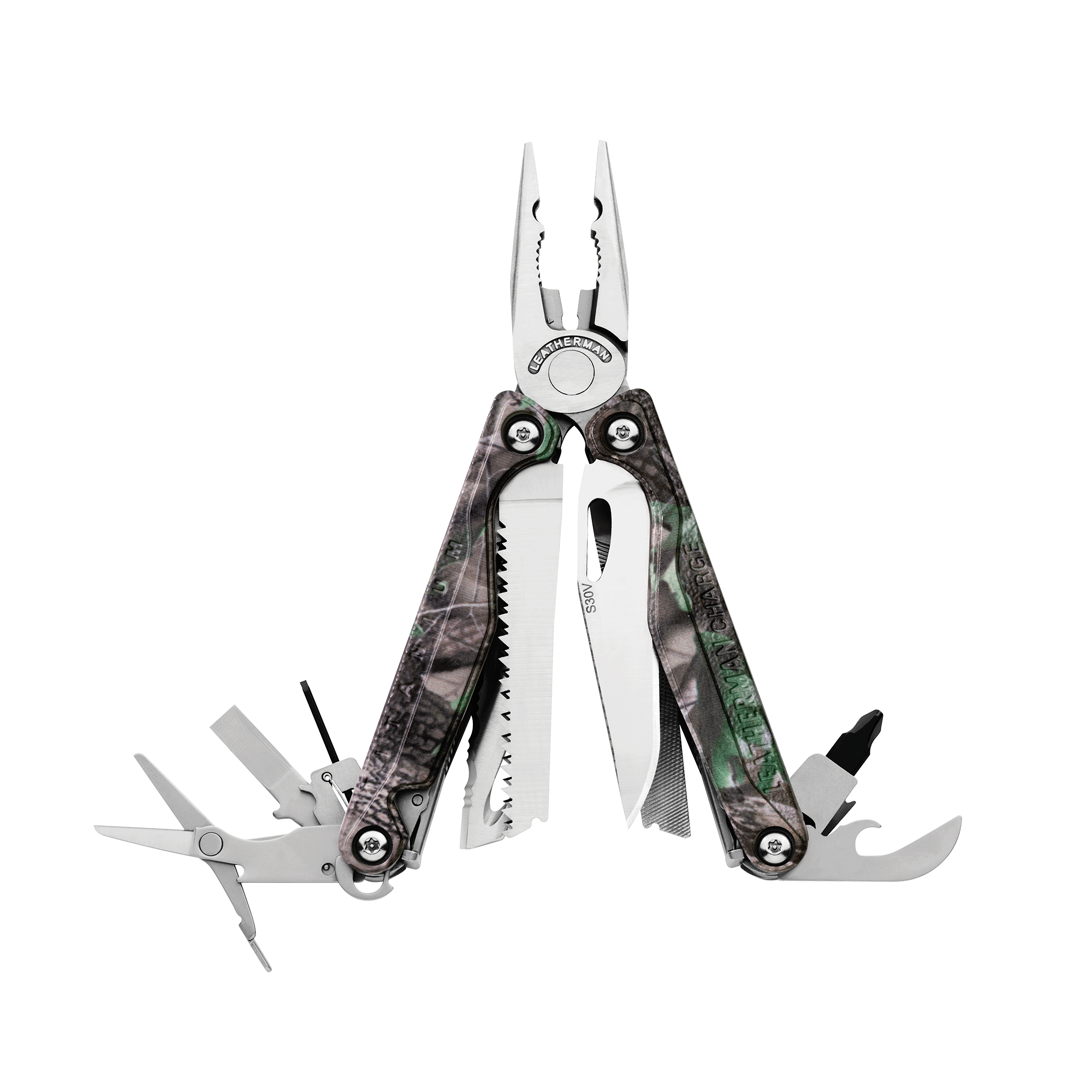 Leatherman Charge TTi multi-tool, open view, Realtree camo print, 18 tools
