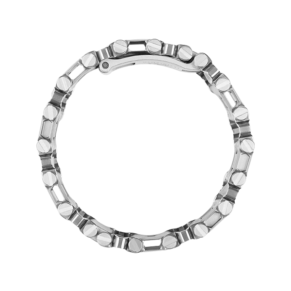 Leatherman tread multi-tool bracelet in stainless steel, side view